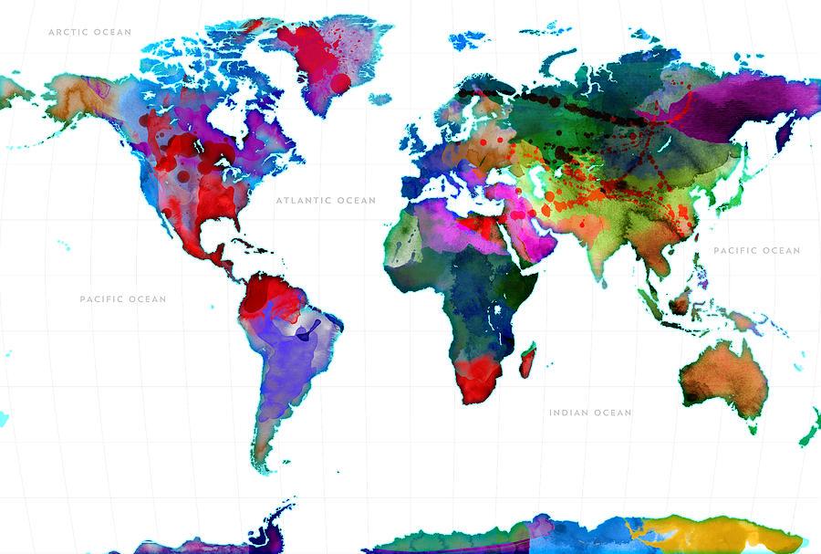 World Digital Art - World Watercolor Map #3 by Gary Grayson
