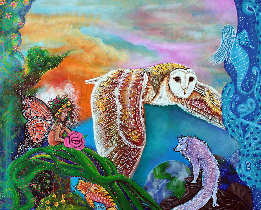 Animals Painting - Worlds Away by Laura Barbosa