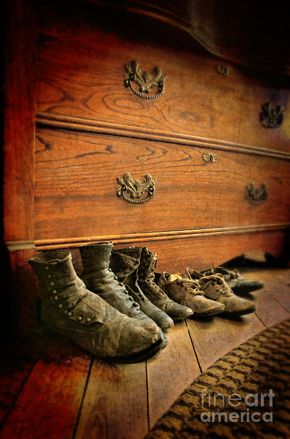 Still Life Photograph - Worn Family Shoes Linded Up by Jill Battaglia