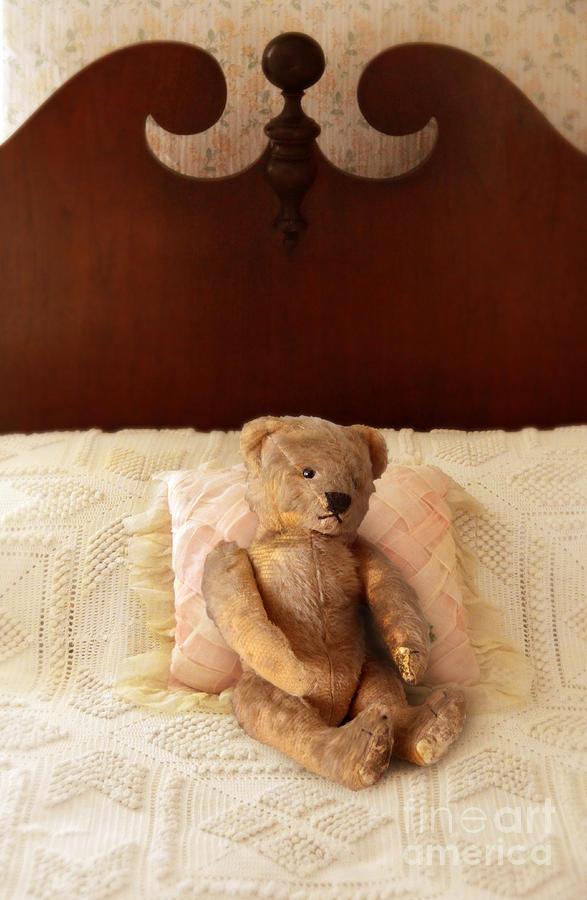 Teddy Photograph - Worn Teddy Bear On Bed by Jill Battaglia