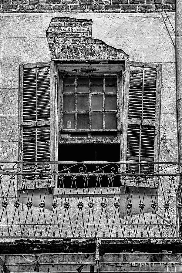 Window Photograph - Worn Window - Bw by Christopher Holmes