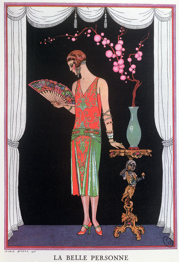 La Belle Personne Painting - Worth Evening Dress Fashion Plate From Gazette Du Bon Ton by Georges Barbier