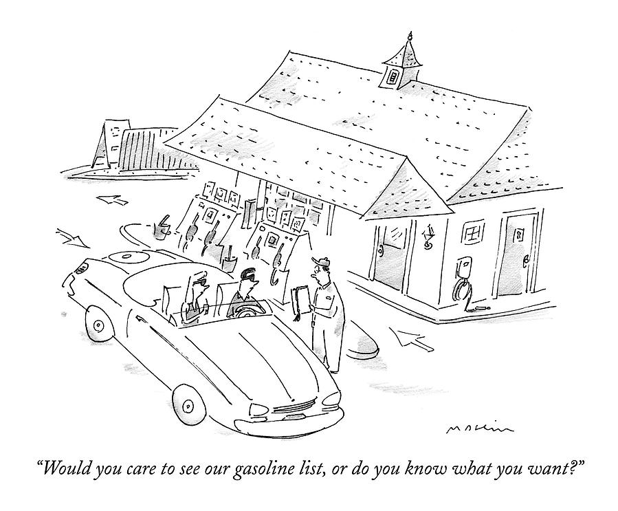 Would You Care To See Our Gasoline List Drawing by Michael Maslin