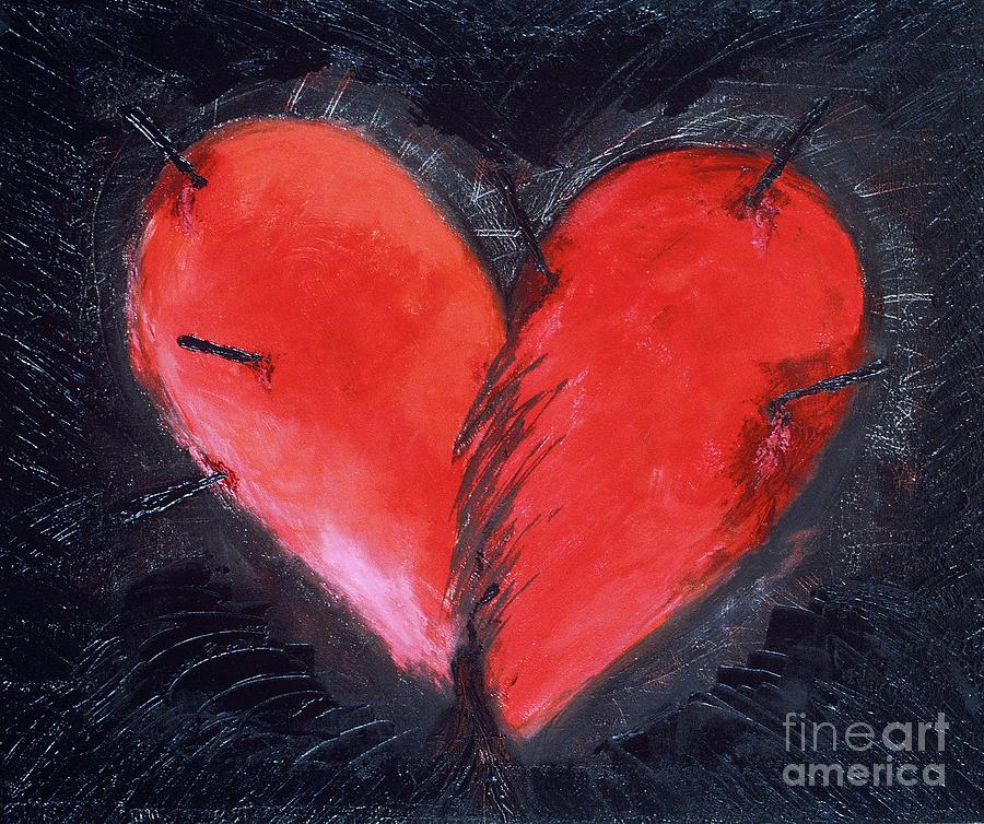 Heart Painting - Wounded Heart by Karen Francis
