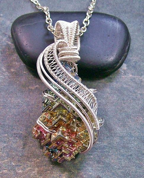 Wire Jewelry - Woven Wire Bismuth Crystal Pendant In Silver- Bsmth35 by Heather Jordan