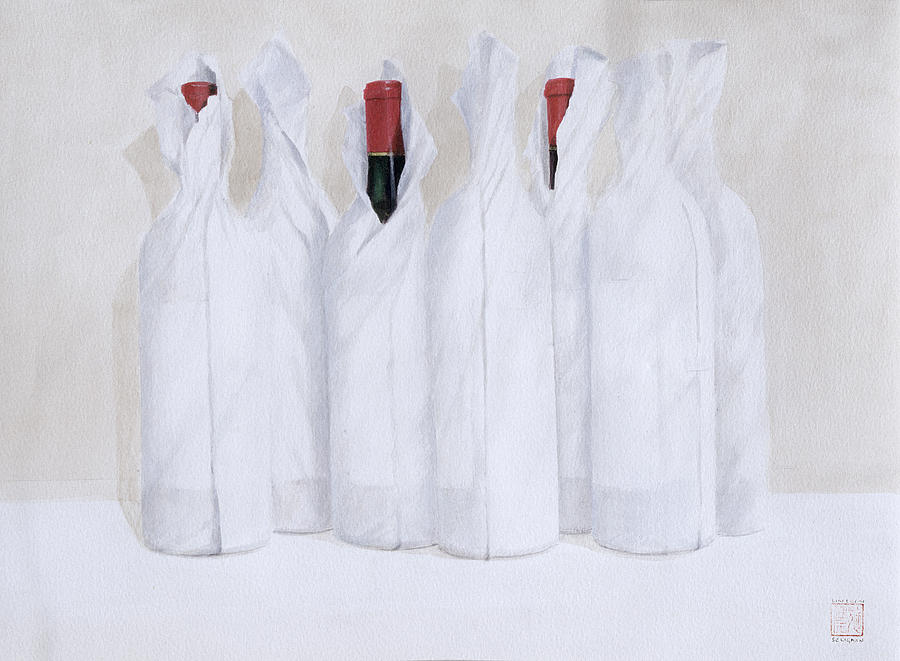Wine Painting - Wrapped Bottles 3 2003 by Lincoln Seligman