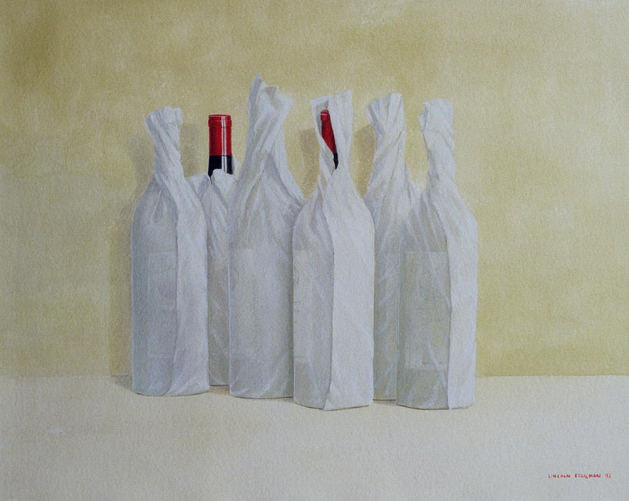 Wine Painting - Wrapped Bottles Number 2 by Lincoln Seligman