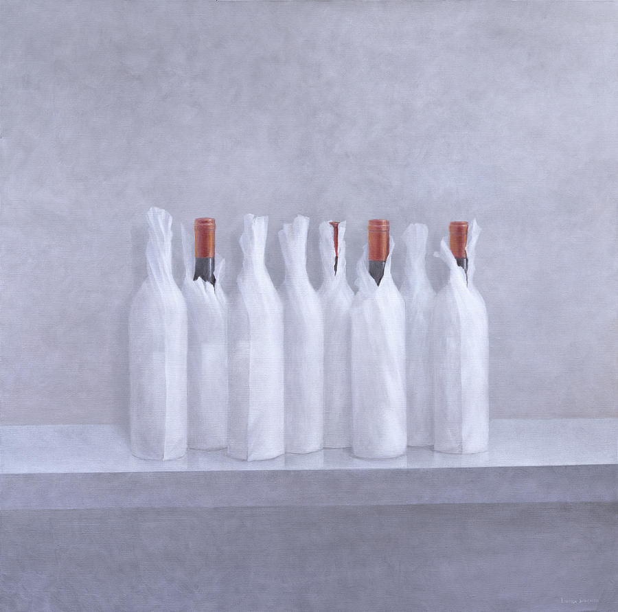 Bottle; Wrapping; Paper; Alcohol; Alcoholic; Beverage; Drink; Wine Painting - Wrapped Bottles On Grey 2005 by Lincoln Seligman