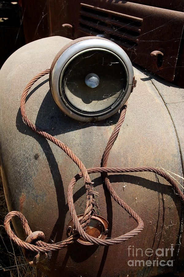 Truck Photograph - Wrapped Head Lamp by J L Woody Wooden