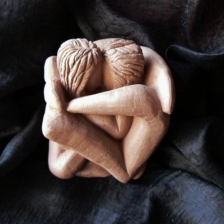 Sculpture Sculpture - Wrapped Up In Each Other by Barbara St Jean