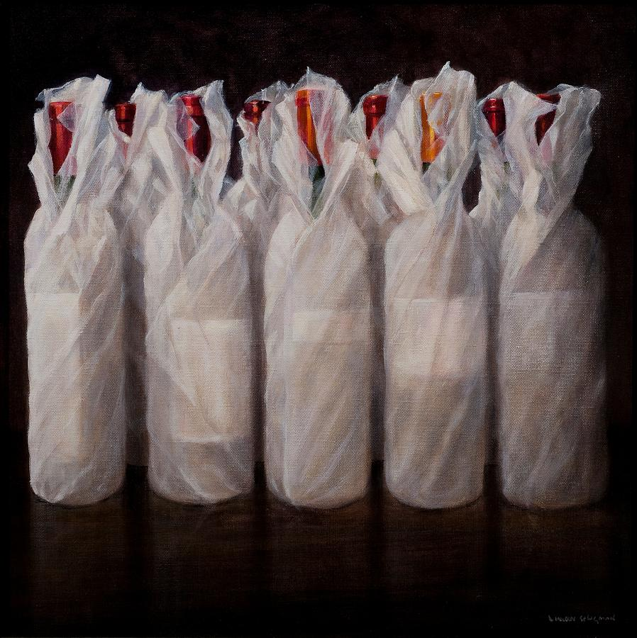 Wines Painting - Wrapped Wine Bottles by Lincoln Seligman