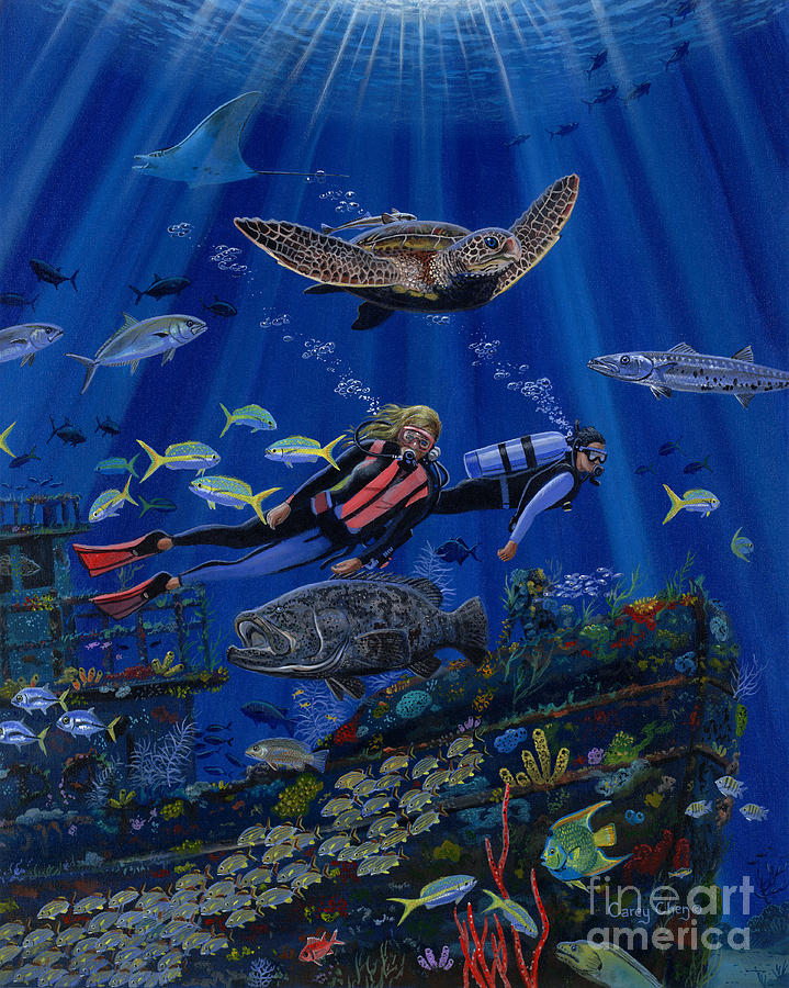 Diving Painting - Wreck Divers Re0014 by Carey Chen