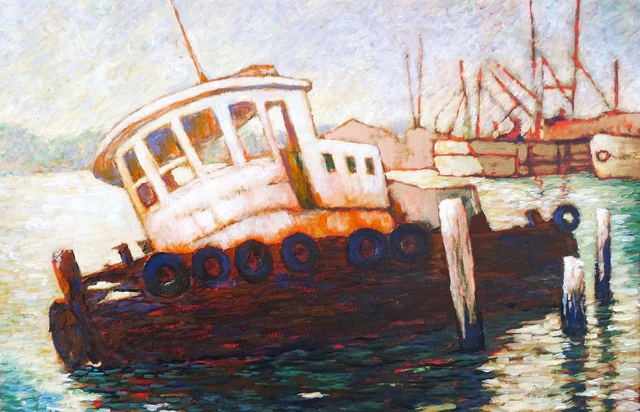 Derelict Boat Painting - Wrecked Tug by Charles Munn