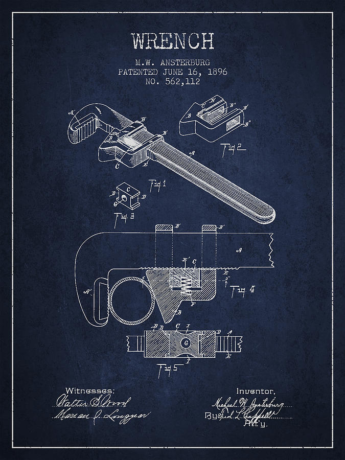 Monkey Wrench Digital Art - Wrench Patent Drawing From 1896 by Aged Pixel