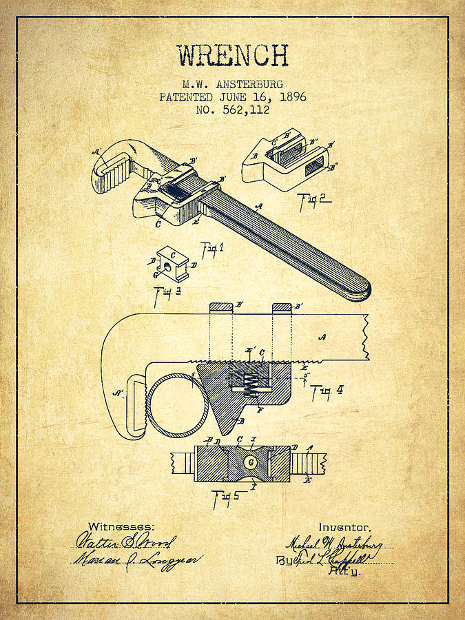 Wrench Patent Drawing From 1896
