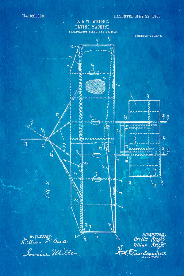 Aviation Photograph - Wright Brothers Flying Machine Patent Art 2 1906 Blueprint by Ian Monk