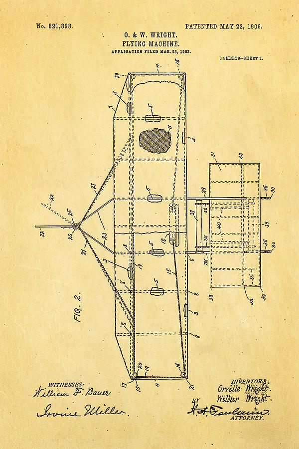 Aviation Photograph - Wright Brothers Flying Machine Patent Art 2 1906 by Ian Monk