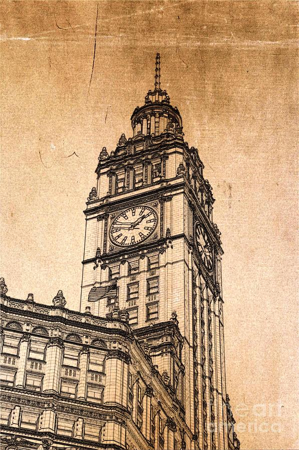 Wrigley Tower Digital Art - Wrigley Clock Tower Chicago by Dejan Jovanovic