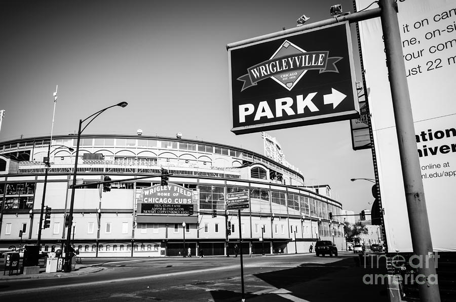 America Photograph - Wrigley Field And Wrigleyville Signs In Black And White by Paul Velgos
