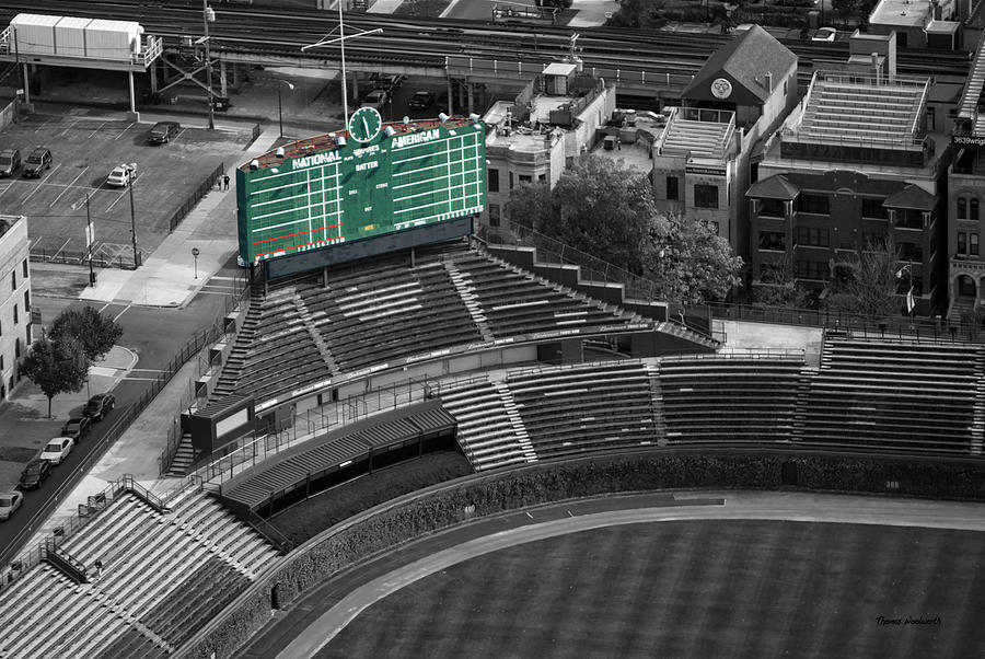 Chicago Cubs Photograph - Wrigley Field Chicago Sports 04 Selective Coloring by Thomas Woolworth