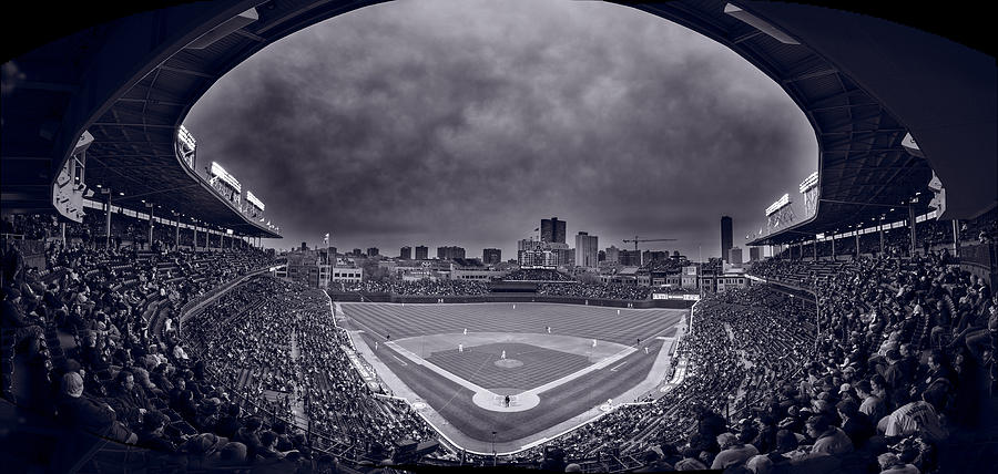 Cubs Photograph - Wrigley Field Night Game Chicago Bw by Steve Gadomski