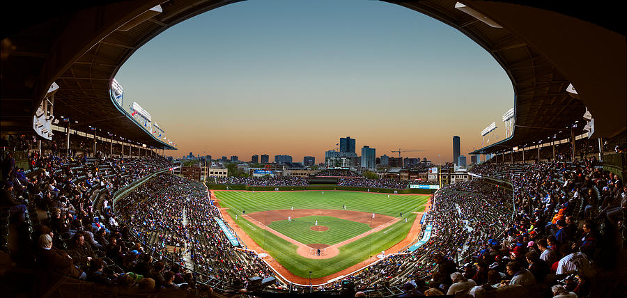 Wrigley Field Night Game Chicago Photograph