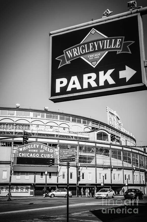 America Photograph - Wrigleyville Sign And Wrigley Field In Black And White by Paul Velgos