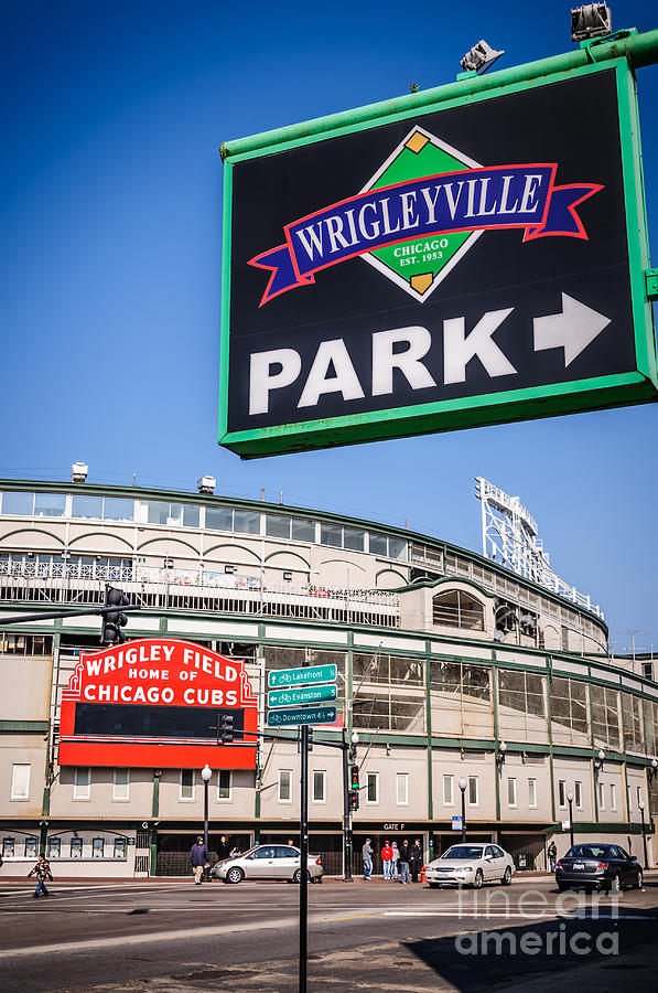 America Photograph - Wrigleyville Sign And Wrigley Field by Paul Velgos