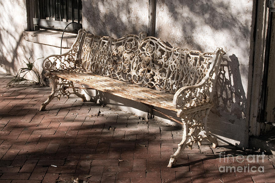 Savannah Photograph - Wrought Iron Bench In White by Jennifer Apffel