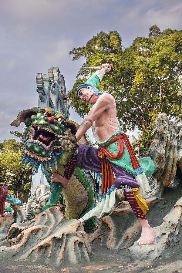 Wu Song Slaying Tiger Statue At Haw Par Villa Photograph