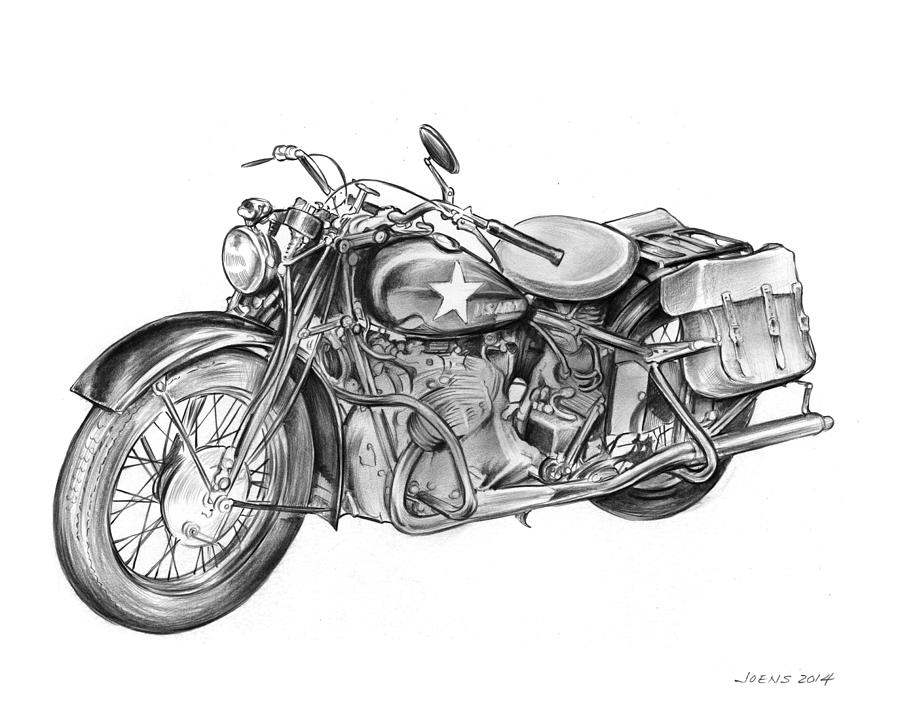 Ww2 Military Motorcycle Drawing