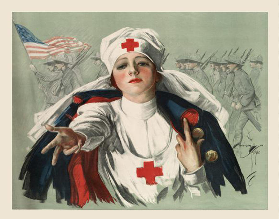 Ww2 Digital Art - Ww2 Red Cross by Georgia Fowler