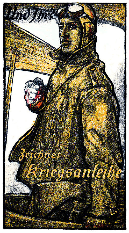 Vintage Painting - Wwi German Aviation War Bond Poster by Historic Image