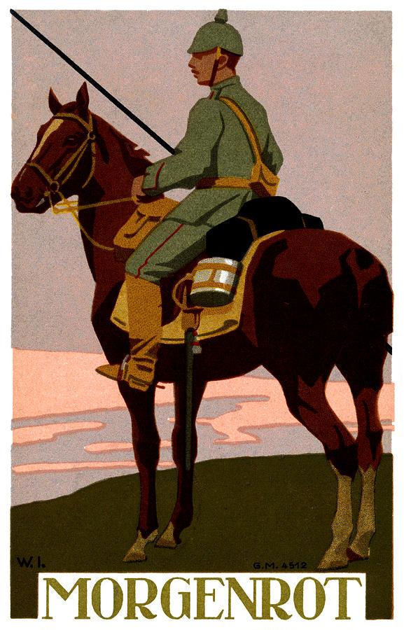 Vintage Painting - Wwi German Uhlan by Historic Image