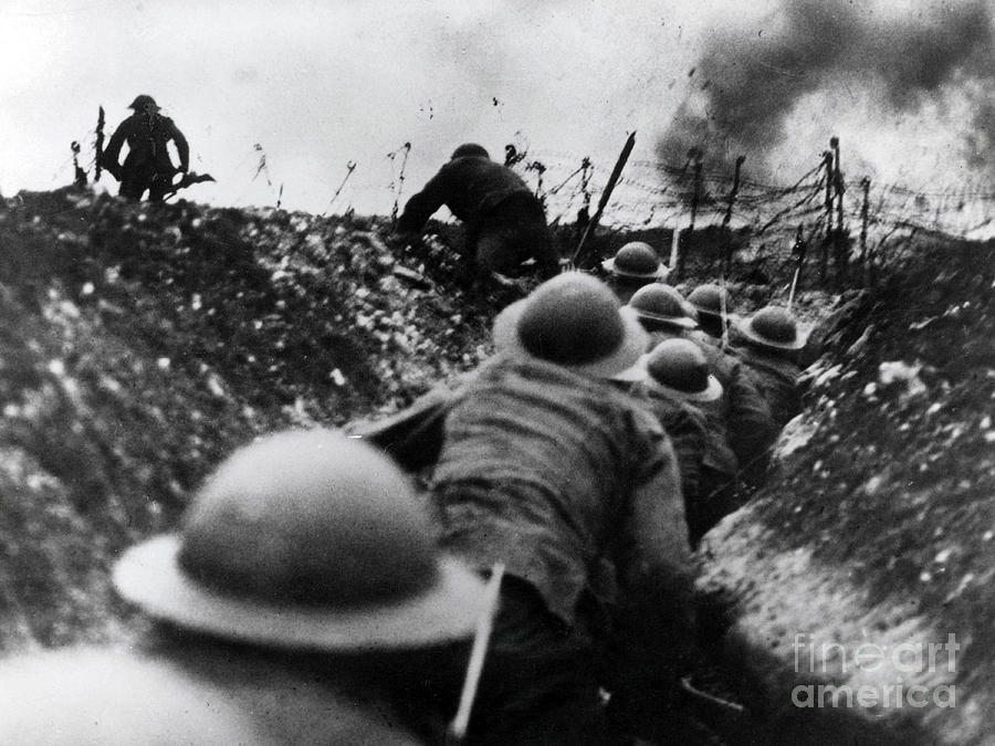 History Photograph - Wwi Over The Top Trench Warfare by Photo Researchers