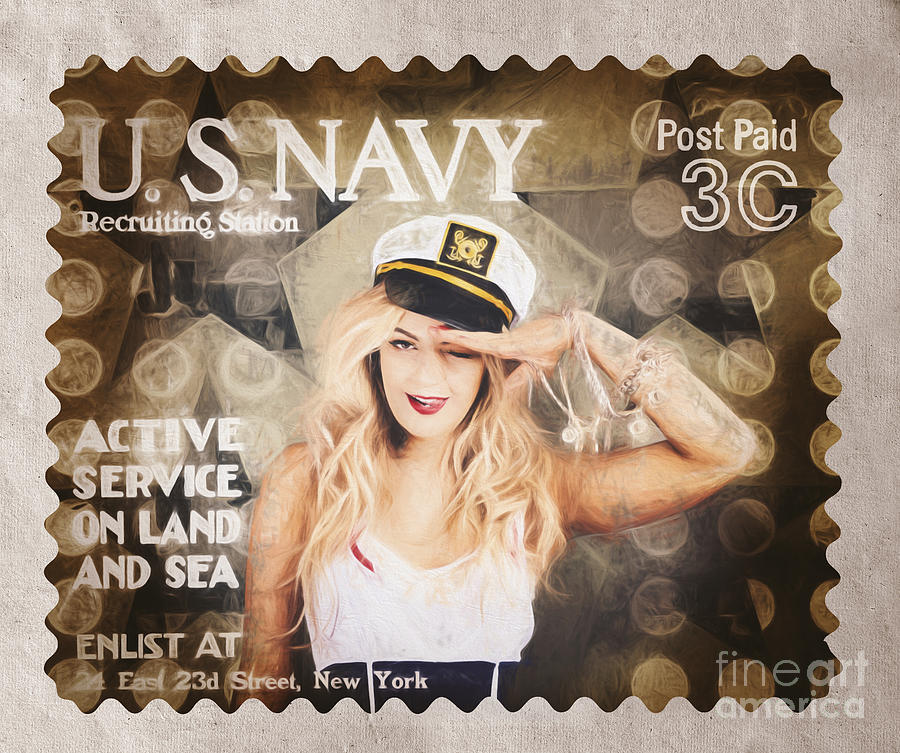 U.s. Navy Photograph - Wwi Recruiting Postage Stamp. Navy Sailor Girl by Jorgo Photography - Wall Art Gallery