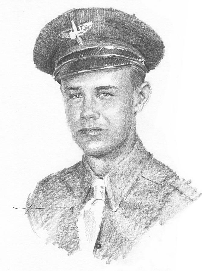 WWII military dad pencil portrait Drawing by Mike Theuer
