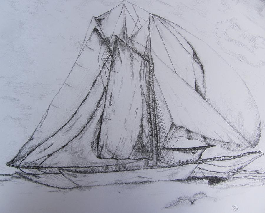 Wwii Schooner Brilliant Modification Drawing by Debbie Nester