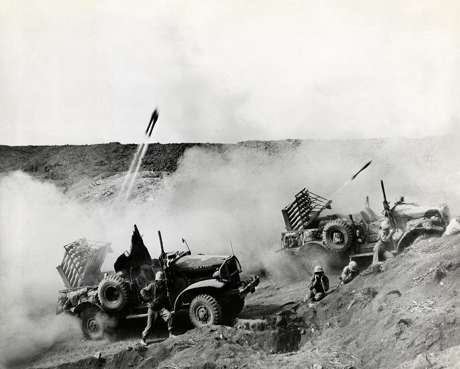 Wwii Usmc Rockets On Iwo Jima Photograph by Historic Image  Usmc