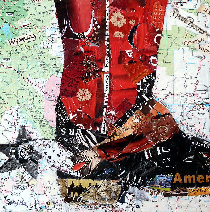 Collage Painting - Wyoming Boot by Suzy Pal Powell