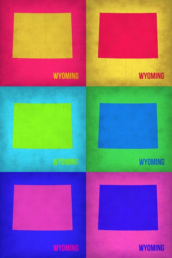 Wyoming Painting - Wyoming Pop Art Map 1 by Naxart Studio