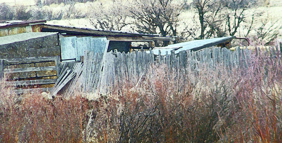 Abstract Photograph - Wyoming Sheds by Lenore Senior