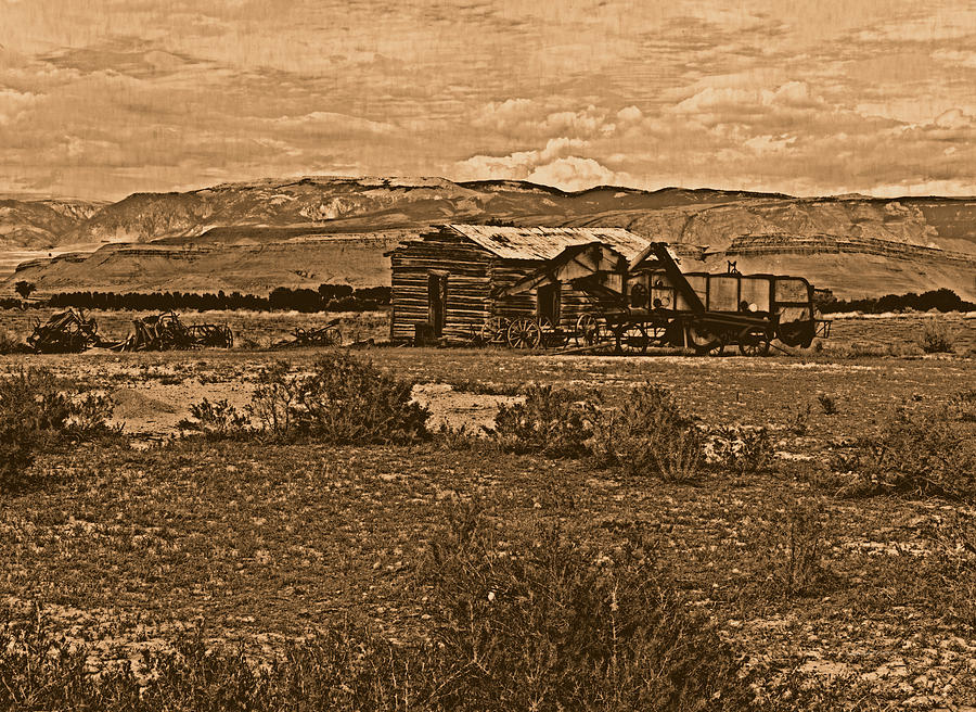 Aged Photograph - Wyoming West by Leland D Howard