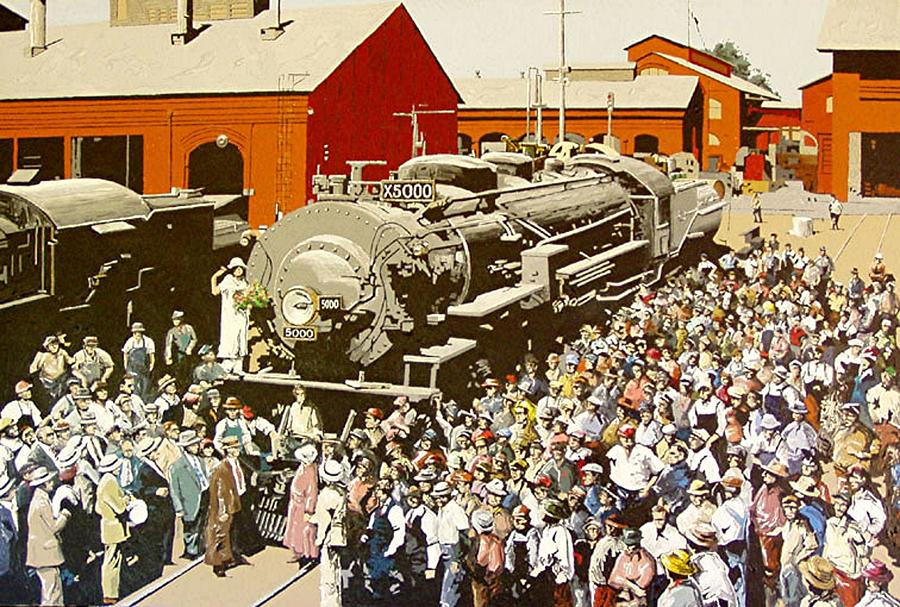 Sacramento Painting - X5000 At The Sacramento Locomotive Works by Paul Guyer