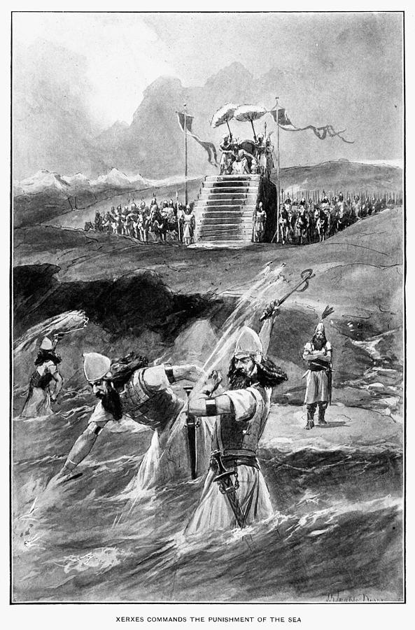 Ahasuerus Drawing - Xerxes At Hellespont by Granger