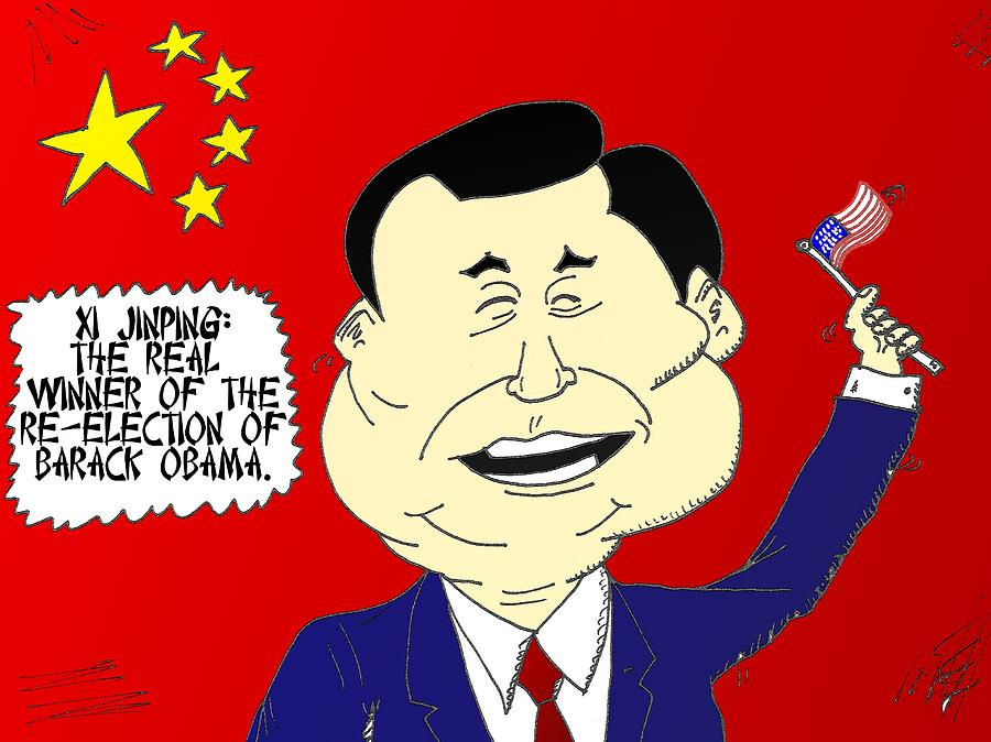 Barack Obama Mixed Media - Xi Jinping Loves America Cartoon by OptionsClick BlogArt