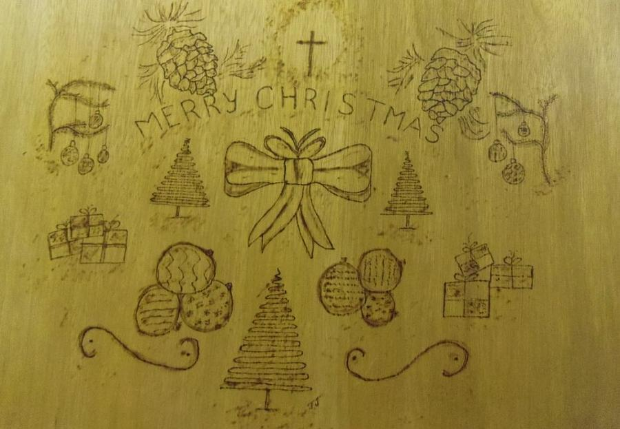 Christmas Spirit Pyrography - Xmas by JJ Oosthuizen
