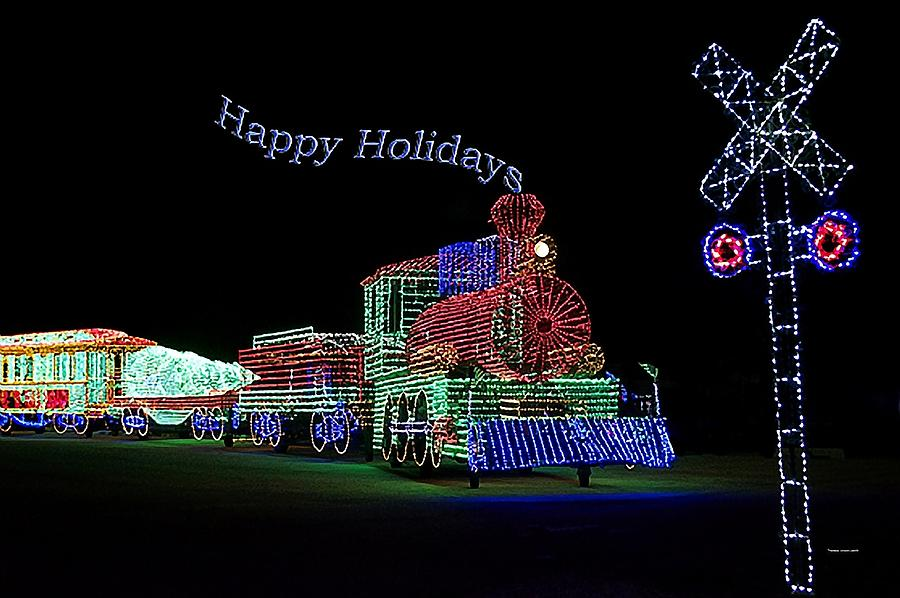 Purple Photograph - Xmas Tree Train Happy Holidays by Thomas Woolworth