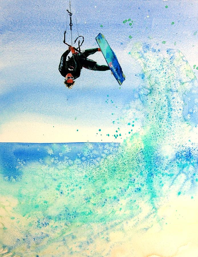 Kiteboarding Painting - Xtreme Big Air by Lynee Sapere