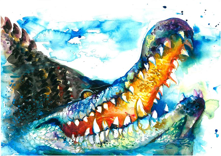 Xxl Format Crocodile Watercolor Painting